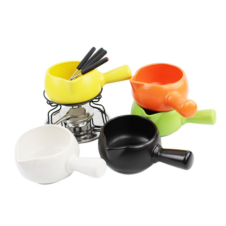 OEM / ODM best quality fondue pan swiss style candle chocolate ceramic fondue with cheese tools