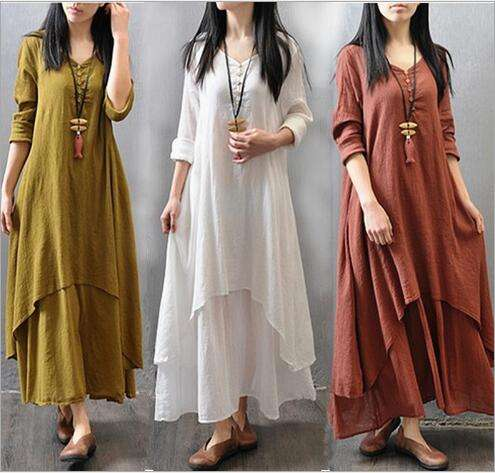 Johnature Cotton Color Women Maxi Dress 2020 Autumn New False Two-piece Long Sleeve Round Neck Loose Plus Size Irregular Dress