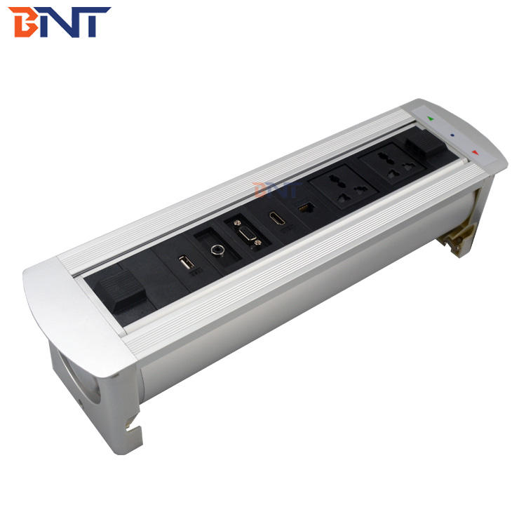 electric rotating style multi-funtion motorized desk multimedia flip up socket hidden table flip up power outlet