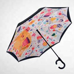 hot upside down hands free car reverse double layer inverted windproof umbrella