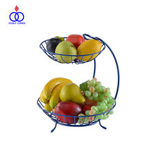 Custom Made Kitchen Wire Metal Designer 2 Tier Iron Fruit Basket