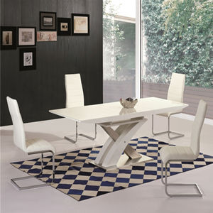 Moderne Grand Extensible Blanc Brillant 6 8 10 Places Violet Ensemble de Table À Manger