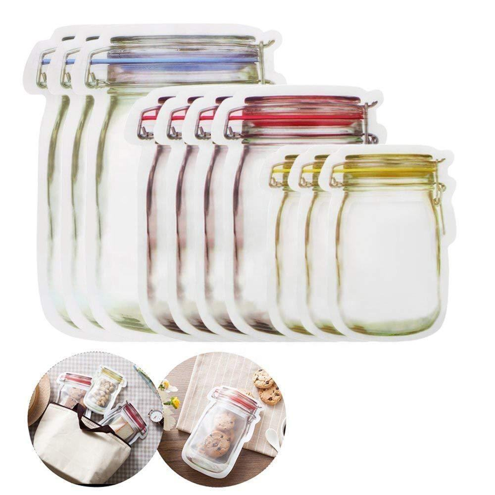 Hotting Self Sealing Zipper Bag Food Storage Pouch Stand Up Shaped Mason Jar Bag