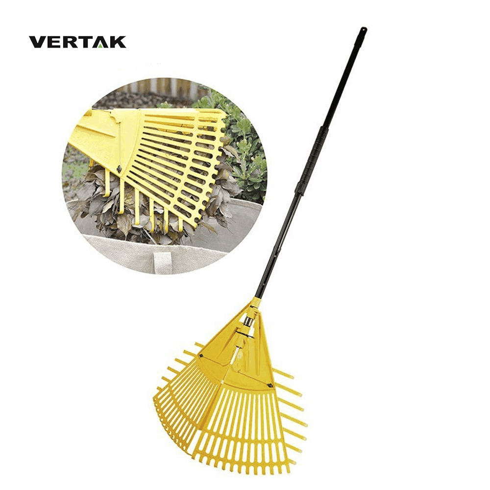 VERTAK 2 in 1 telescopic leaf rake garden adjustable folding rake/grass rake