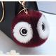 Burgundy Color Fashion Plush Panda Doll Eyes Key Chain Ring Woman Faux Fox Fur Ball Pendant with Bear Eyes
