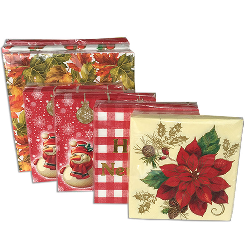 Colored [ Paper Napkins ] Printed Paper Napkin Decorative Paper Napkins In Good Quality For Christmas Party