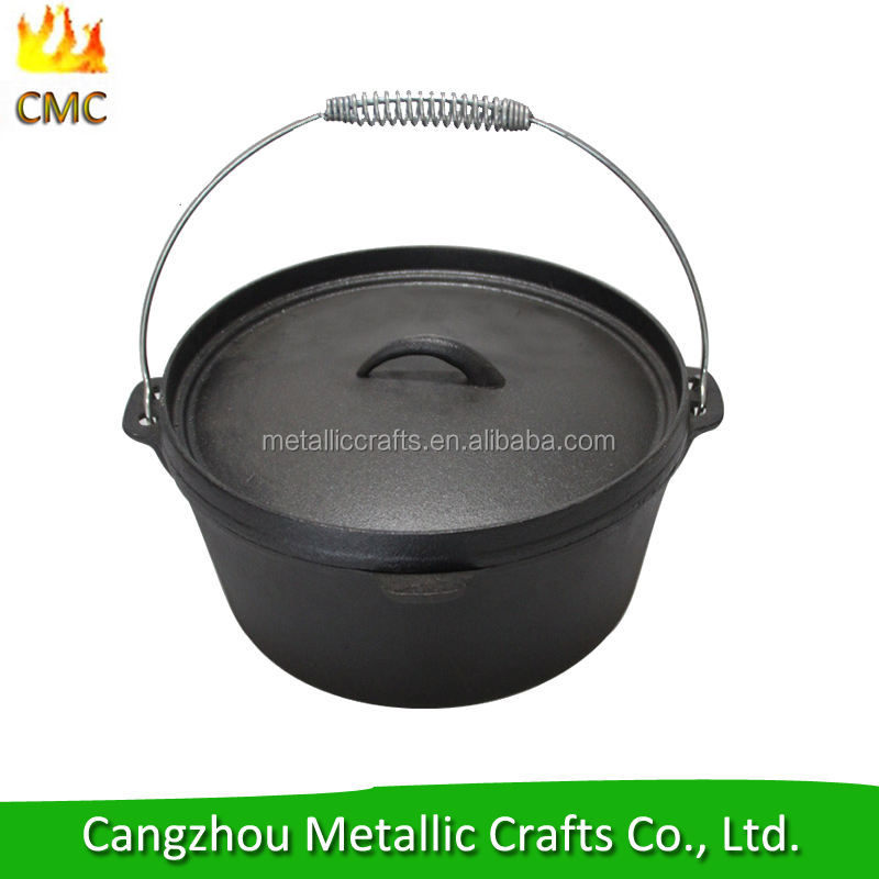 9QT pre seasoned cast iron camping dutch oven with Campfire Tripod