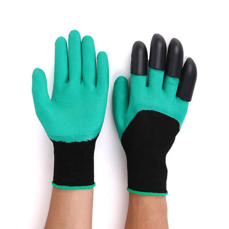 Comfortable Breathable Garden Work Safely Digging Planting Foam Latex 4 ABS Plastic Claws Gloves