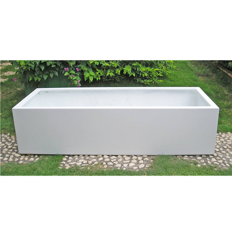 Foshan factory direct sales light weight large outdoor white rectangular fiberglass flower pots for wholesale
