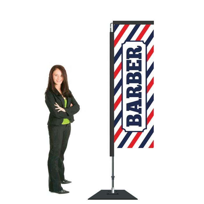 Factory Direct Sale Square Base Type Custom Advertisement Barber Flag For Outdoor