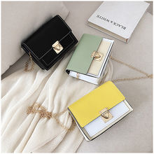 2019 New Color Matching Small Square Bag Korean  One Shoulder Messenger Bag Ladies Handbag Custom Pu Female Bag