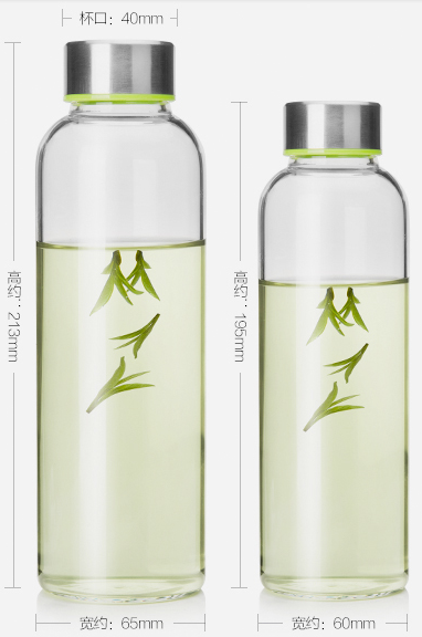 Botella de Agua de Cristal a prueba de Calor De Vidrio Personalizada Botella de Diseño