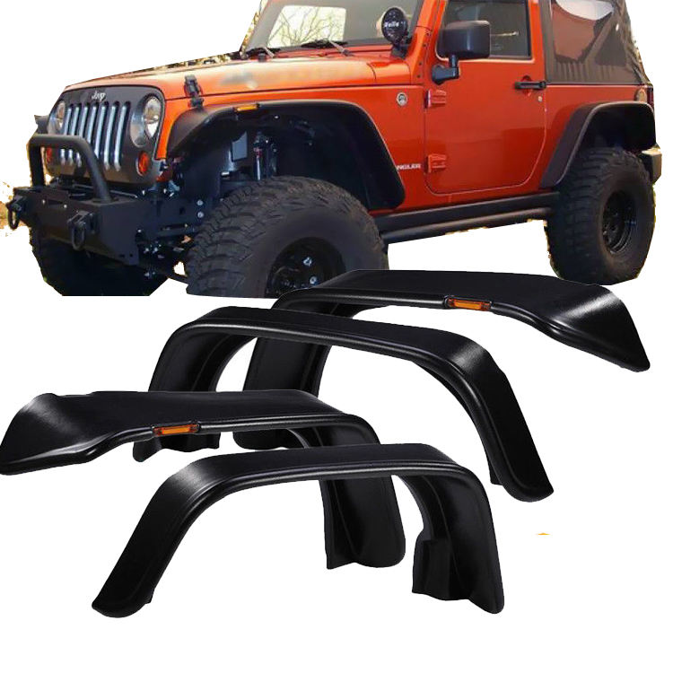 Flat Style Wheel Arches Fender Flare for Wrangler Jk with lights Car Fender