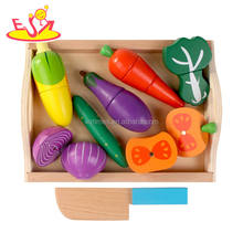 Wholesale hot sale wooden pretend food toy cutting vegetables toy for children W10B200