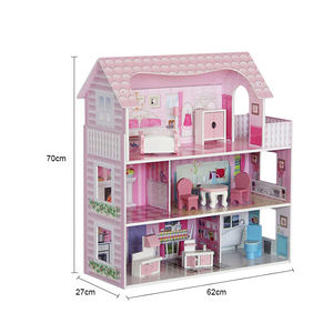 New fashion birthday gift hot sale big diy handmade wooden play toy kids doll house TY0373