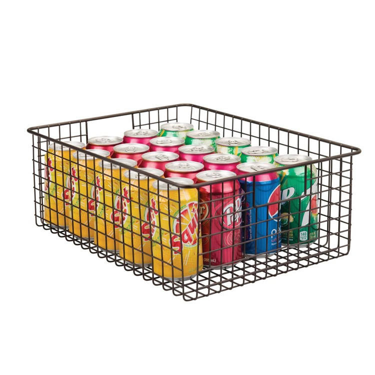 18L large capacity metal wire basket square shape storage basket can be custom