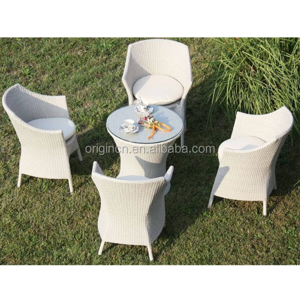 Poly rattan woven tea table and 4 chairs set outdoor coffee shop furniture wholesale