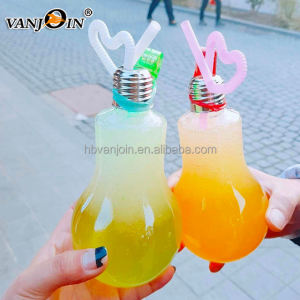 700ml 800ml light bulb bottle empty boba tea plastic bottle with LED finger light
