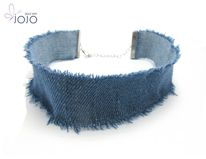 Hot selling fashion hip hop vintage single-layer denim neck chain accessories for girls made in china choker necklace
