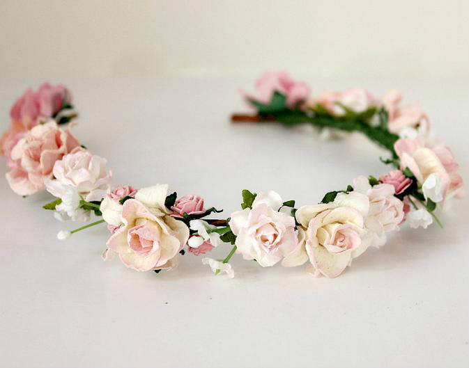 Wholesale floral hand made headband bridal hair band wedding flower crown hair accessories for ladies