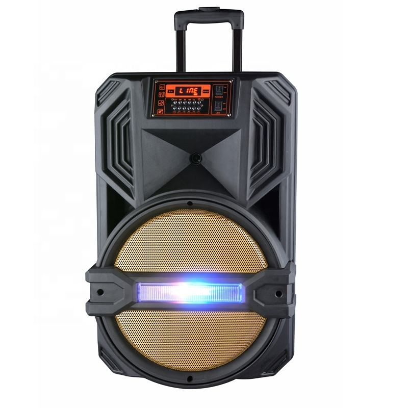 "2-Way 15"" 200W High Power Bluetooth Enabled PA Loudspeaker System Includes 2 PC Wireless Handheld Microphones Trolley Speaker"