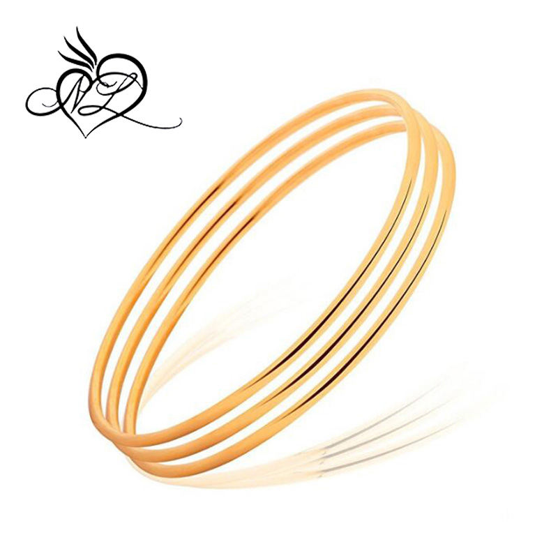 Women Simple 6 Pcs Tri-color Silver/Gold/Rose Gold Tone Bohemian Style Bangle Bracelet Set