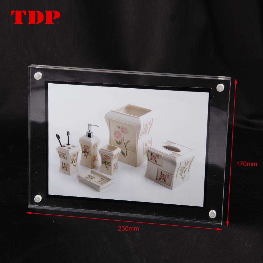 Wholesale Clear Plexiglass Picture Block Holder Acrylic Magnetic Photo Frame