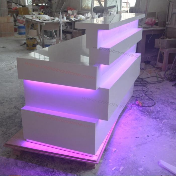High End lighting curved shape nail salon beauty hair reception desks front office counter