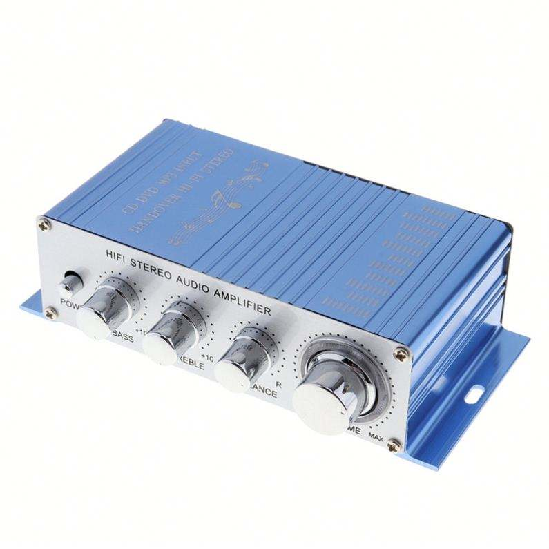 HY-2002 Hi-Fi DC 12V Mini Auto Car Stereo Amplifier 2 Channels Audio Amplifier Support CD DVD MP3 Input For Car Motorcycle Home