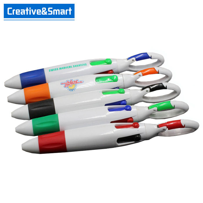 Cheap High Quality Promotional Ballpoint 4 In 1 Pen Custom Plastic Multi Color Keychain 4 Color Pen