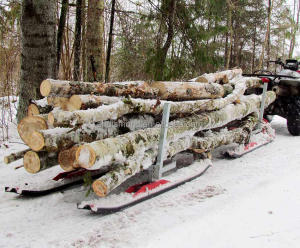 500kgs max load ATV timber sleds/ log transport skis/hd Snow Sleigh Trailer/1102lb utility snow sledge towed by snowmobiles