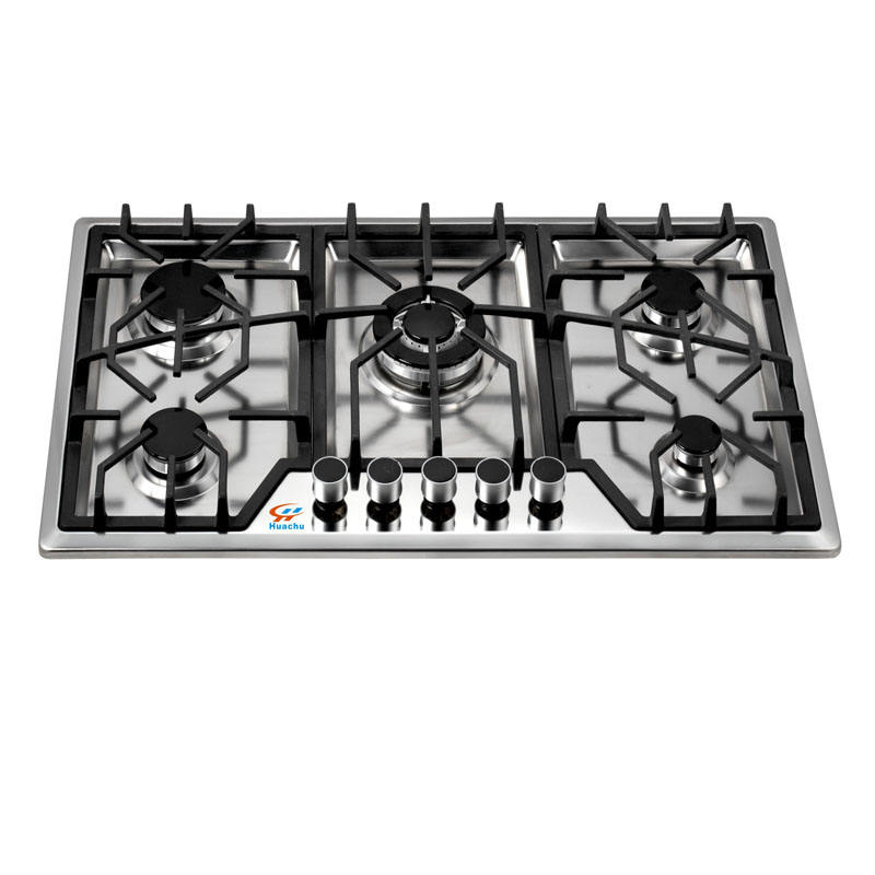 Arabian popular 90cm INOX 5 burners gas hob with nice cast iron grills on cooktop