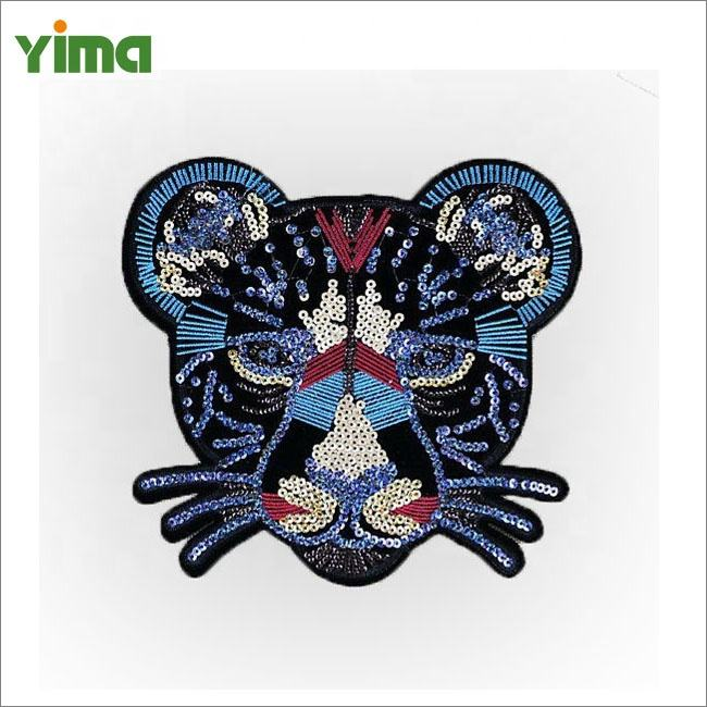 Vendita cool blue sequin del ricamo patch di leopardo tigre fai da te sequin del ricamo patch per il ragazzo amico