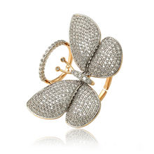 15827 xuping fashion europe jewelry 18k gold plated luxury diamond adjustable butterfly ring jewelry