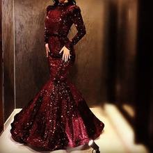 Wine Red Women Evening Dress Long Sleeve High Neck Fitted Mermaid Lady Glitter Sequin Prom Dress Gown 2020