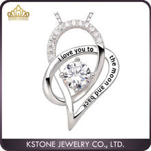 KSTONE I love you to the moon and back 925 Sterling silver heart pendant necklace