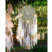 Boho Dream Catchers Handmade White Gold Feather Dreamcatchers with Flowers for Wall Hanging Decoration, Wedding Decoration Craft
