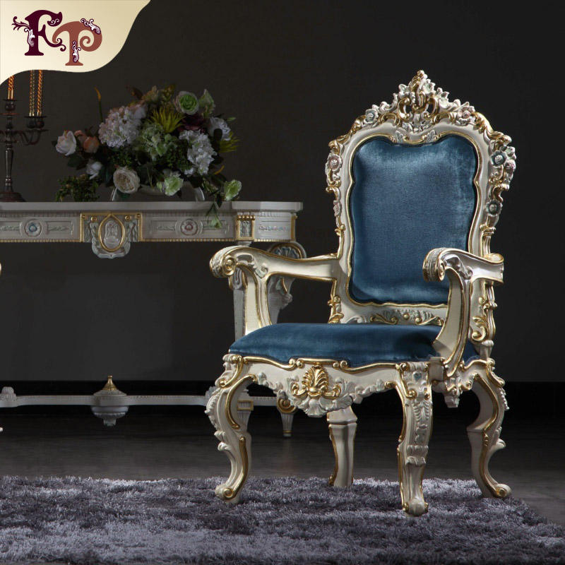 Italian wooden furniture armchair classic royal dining chair