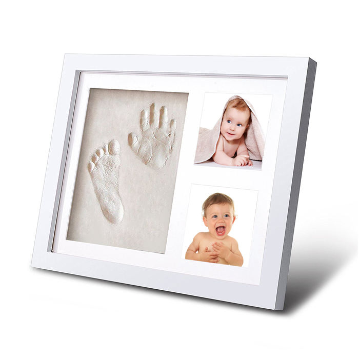 Baby Photo Frame with Oak Wood Baby Hand Print Kit Clay Baby Foot Print Picture Frame