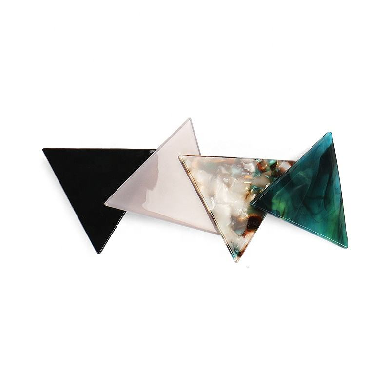 New Fashion Stitching Hair Clip Delicate Barrettes Girls Hair Accessories Interesting Triangle Acetate Hairpin