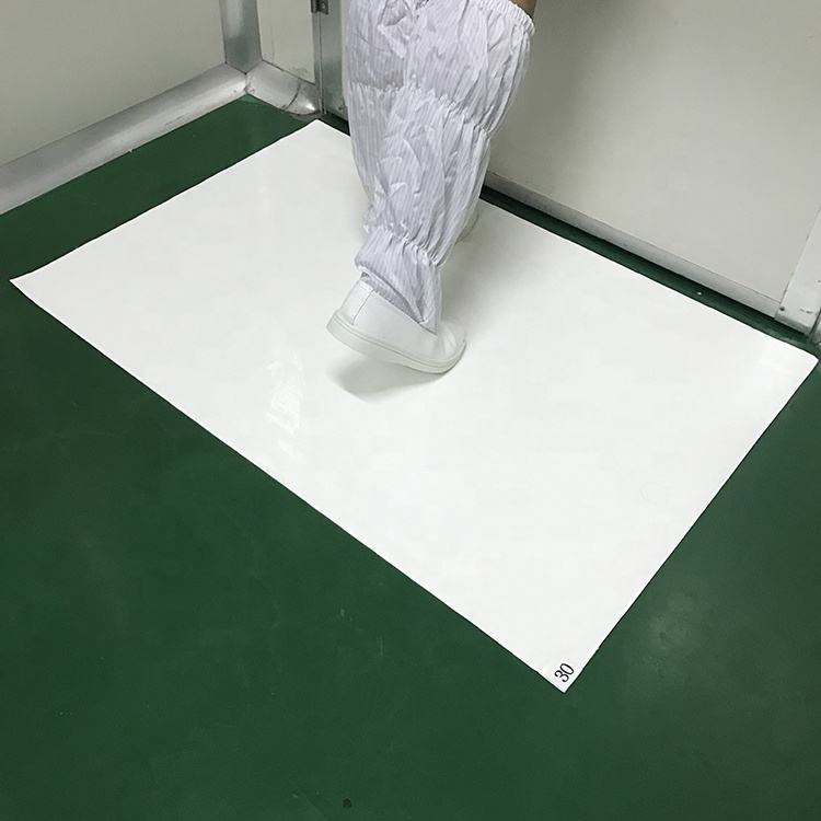 High Tackiness 35um 60x90cm 30layers Peelable Disposable Dust Control PE Material White Sticky Mat for Cleaning Room