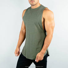 Lifestyle Cut Off Shirt Curved Hem Tank Top Men Olive 95% Cotton 5% Elastane Gym Shirt Deep Cut Muscle Tee