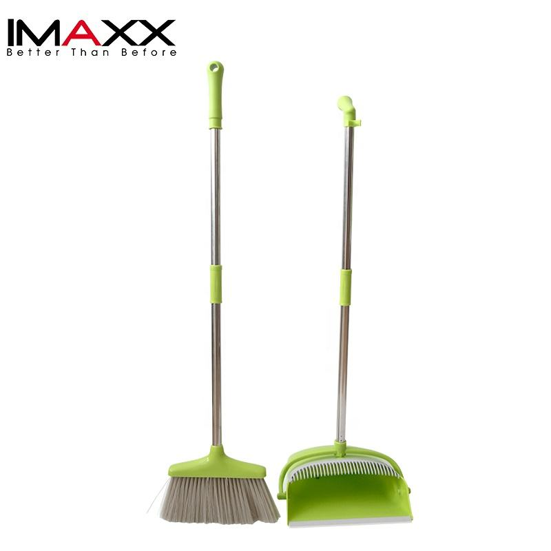 Household Bristle Cleaning Plastic Long Handle Broom And Dustpan Set