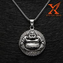 Hip Hop Silver Filled Simulated Diomands Buddhist Buddha Design Pendant Charm