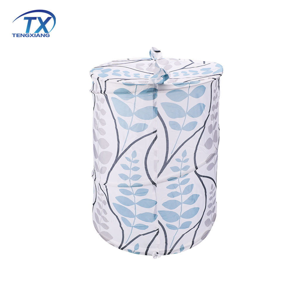Polyester Polyester Laundry Hamper Plant Printed Polyester Easy Folding Laundry Hamper