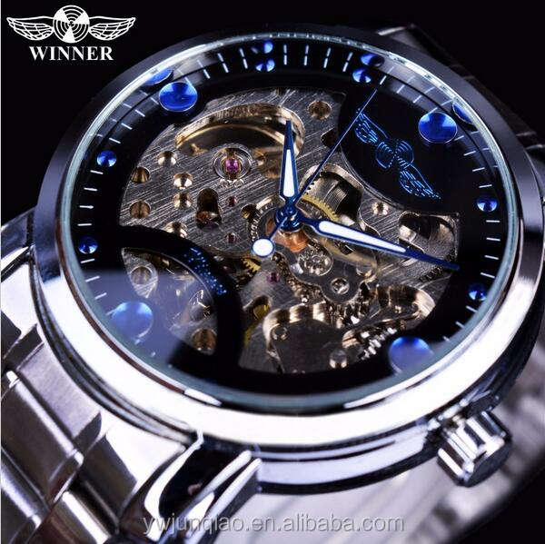 New Fashion Winner Brand Mechanical Watches Men Stainless Steel Automatic Watch Skeleton Automatic Watch Accept Custom Logo
