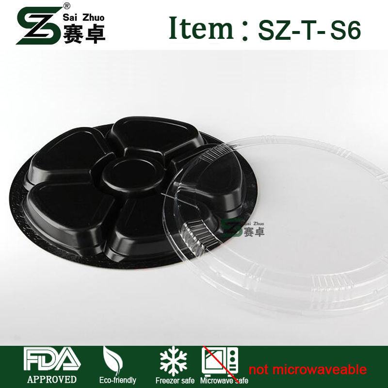 Tray 6 Compartment Plastic Plate