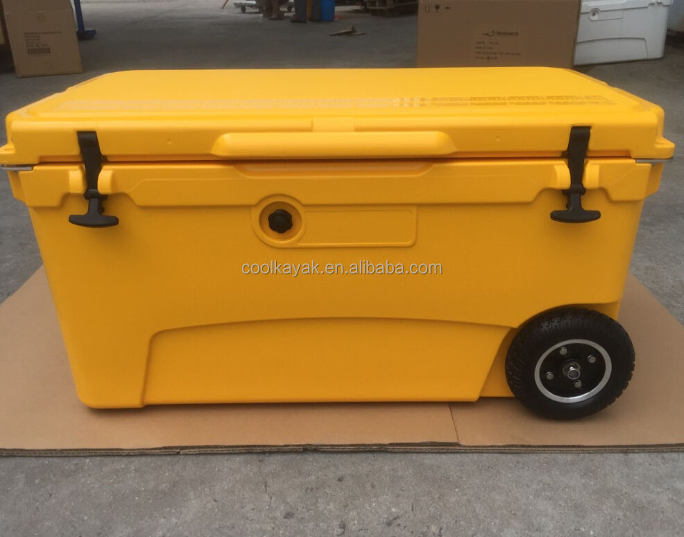 70QT rotomolded camping insulation ice chest wheel cooler box