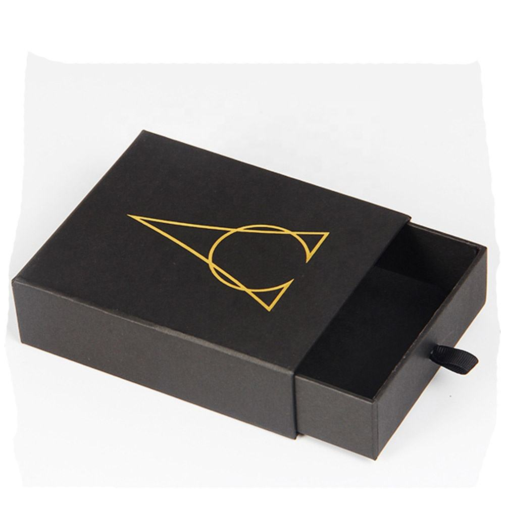Black Cardboard Box and Sleeve with Custom Foil Stamping Logo