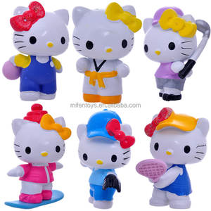 6pcs/set popular small full set hello kitty cat baseball tennis PVC action figure dolls for children kids girls like gifts